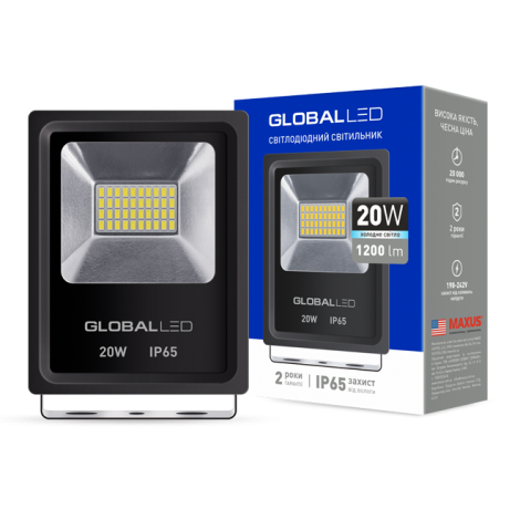 Светодиодный прожектор GLOBAL FLOOD LIGHT 20W 5000K 220V