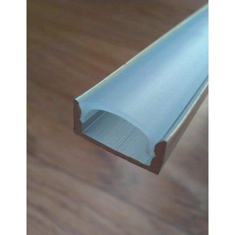 Накладной алюминиевый профиль для светодиодных лент не анодированный + рассеиватель матовый или прозрачный