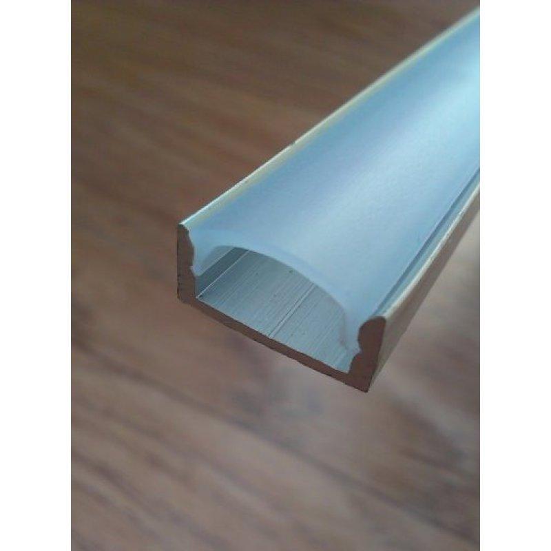 Накладной алюминиевый профиль для светодиодных лент анодированный + рассеиватель матовый или прозрачный