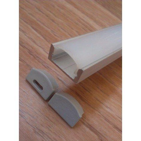 Накладной алюминиевый профиль для светодиодных лент анодированный с рассеивателем LED-01 (ЛП-7)