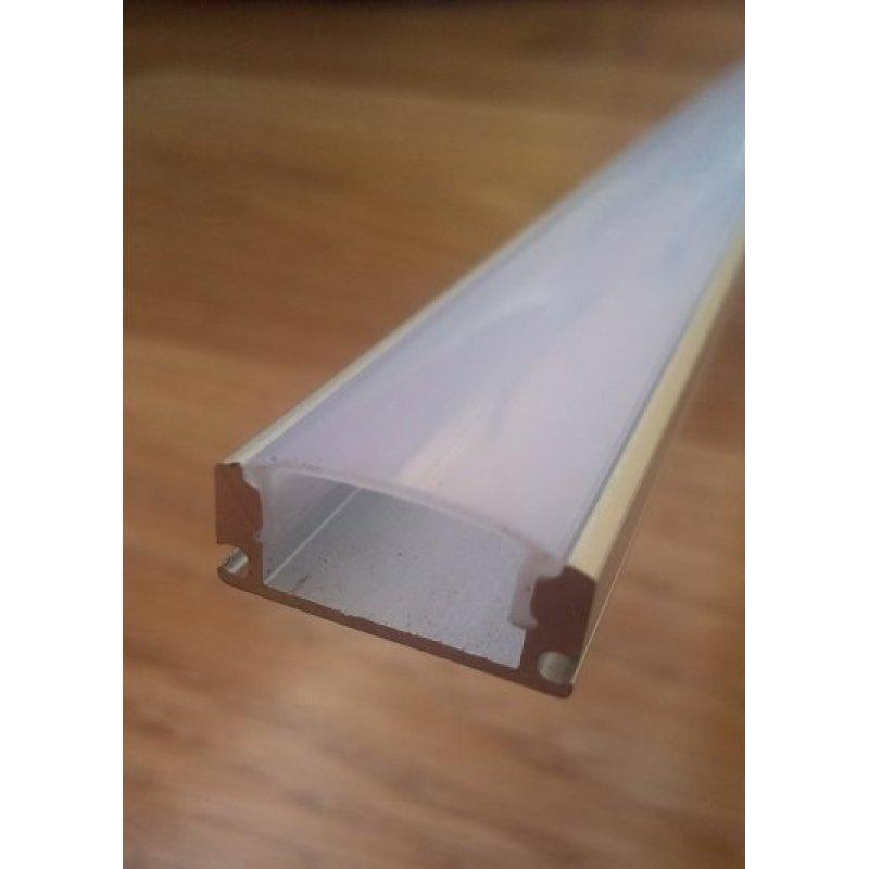 Накладной алюминиевый профиль для светодиодных лент анодированный с рассеивателем LED-08