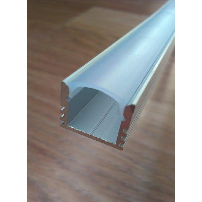 Накладной алюминиевый профиль для светодиодных лент глубокий + рассеиватель матовый или прозрачный