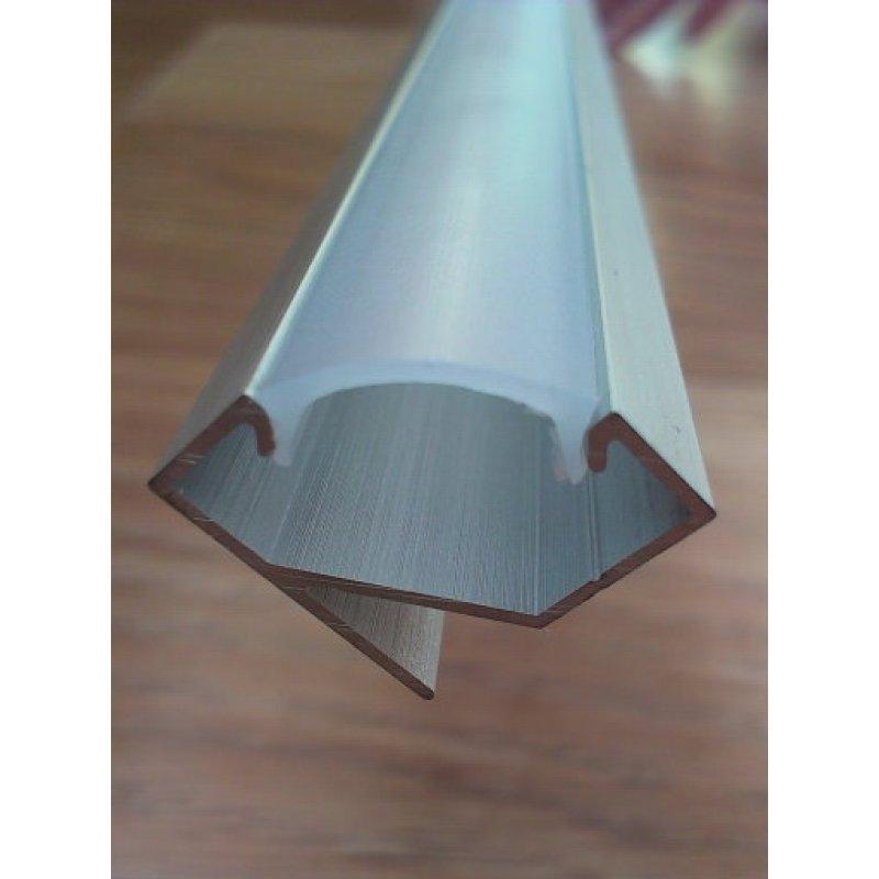 Угловой алюминиевый профиль для светодиодных лент не анодированный + рассеиватель матовый или прозрачный