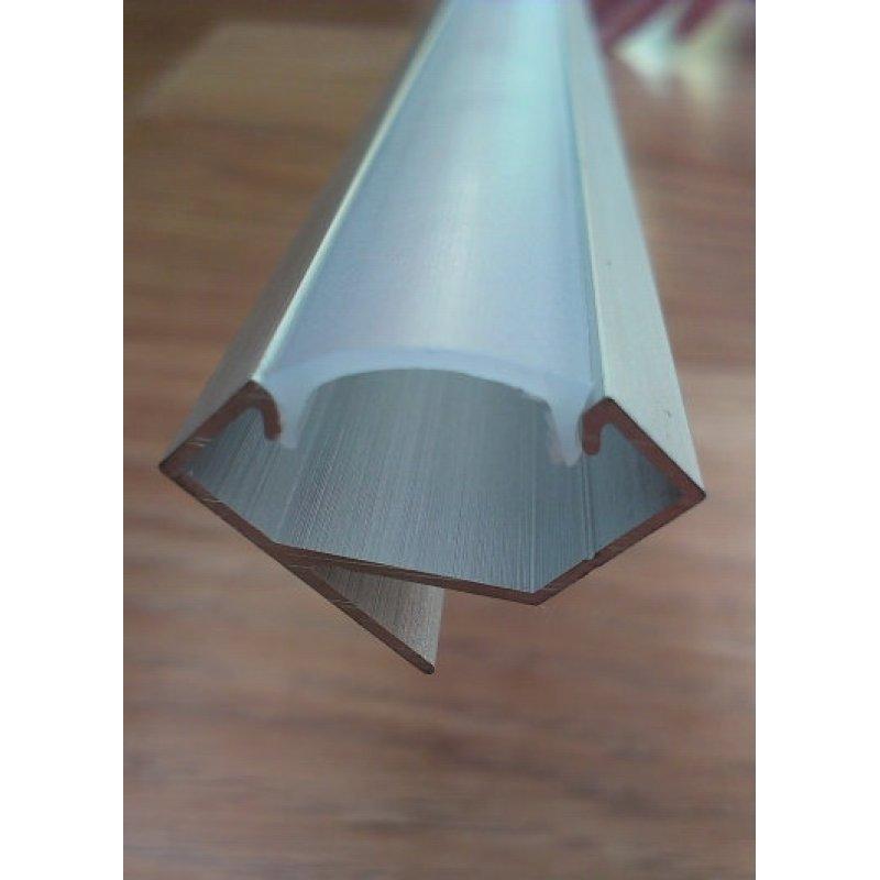 Угловой алюминиевый профиль для светодиодных лент анодированный + рассеиватель матовый или прозрачный