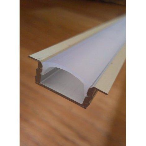 Врезной профиль для светодиодных лент анодированный + рассеиватель матовый или прозрачный