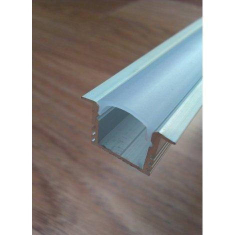 Врезной профиль для светодиодных лент глубокий анодированный + рассеиватель матовый или прозрачный