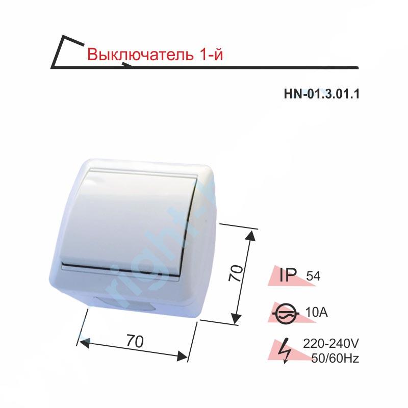 Выключатель IP54 RIGHT HAUSEN BERTA одинарный наружный HN-01.3.01.1 белый