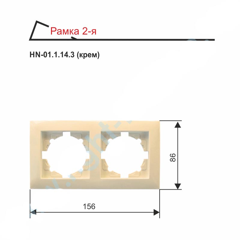 Рамка RIGHT HAUSEN VELENA двойная внутренняя горизонтальная HN-01.1.14.3 бежевый/белый