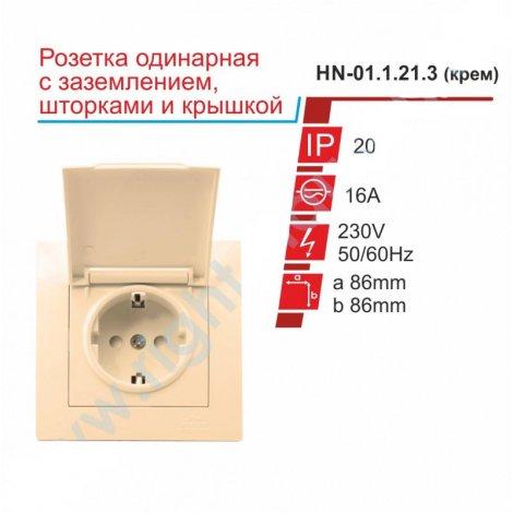 Розетка RIGHT HAUSEN VELENA одинарная внутренняя с заземлением шторками и кришкой HN-01.1.21.3 бежевый/белый