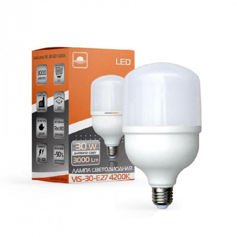 Светодиодная лампа EVROLIGHT 30Вт 4000K/6400K E27 (VIS-30-E27)