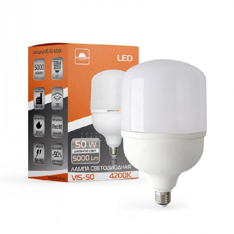 Светодиодная лампа EVROLIGHT 50Вт 4000K/6400K E27 (VIS-50-E27)