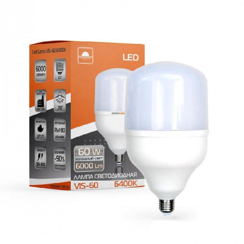 Светодиодная лампа EVROLIGHT 60Вт 4000К/6400к E27 (VIS-60-E27)